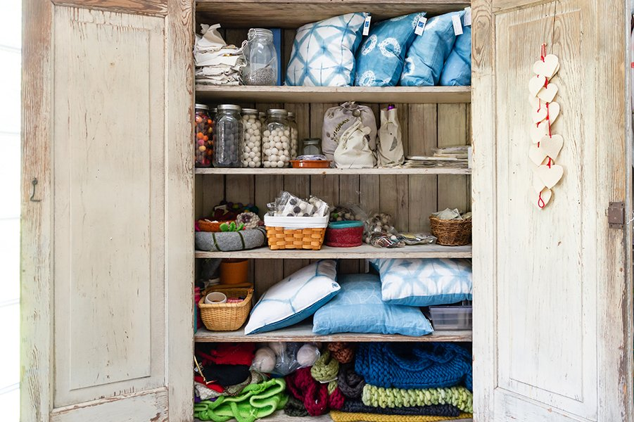 closet filed with pillows