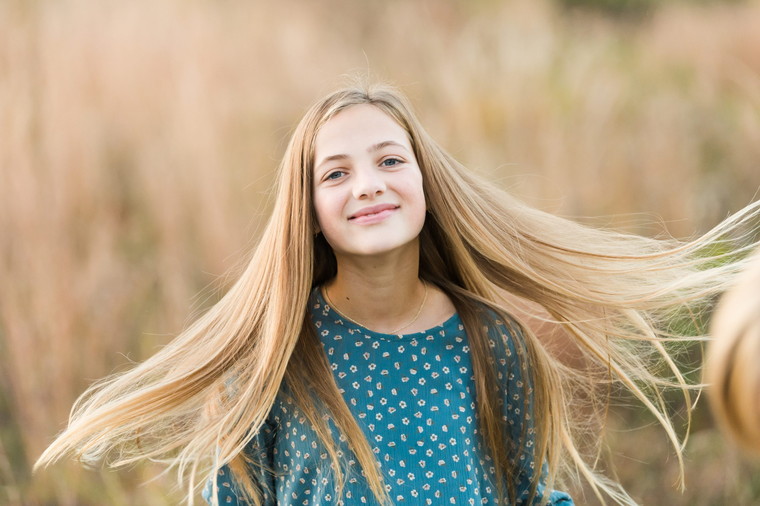 tween with long blond hair