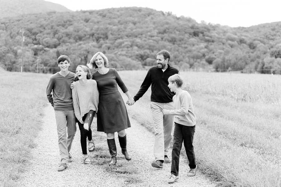 family of five in black and white