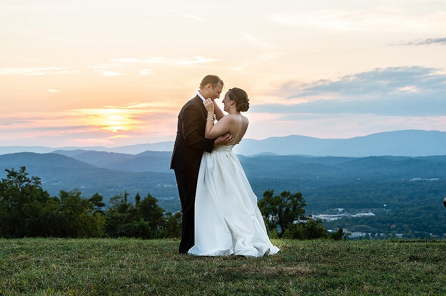 newly weds at mont alto with blue ridge mountain in back drop