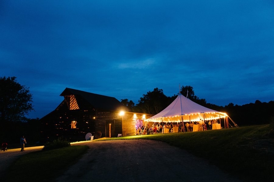 night view of a tented weddings