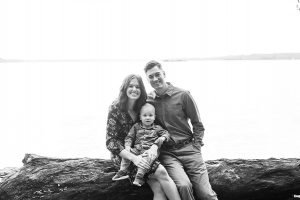 family photo by the water in black and white